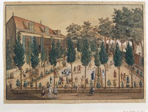 Switzerland, Geneva, playing bocce in Plainpalais Gardens by C.G. Geissler, watercolour