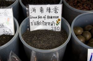 Thailand, Bangkok, Chinatown, Charoen Krung Road, green tea for sale at market stall