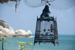Thailand, Ko Phangan, Hat Yuan, view of bird cage with sea in the background
