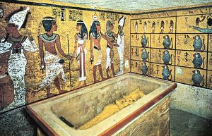Tomb of Tutankhamun (dc1340 BC): Sarcophagus containing gold coffin of the king which