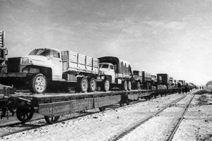 A trainload of trucks arriving for the first polish corps in the ussr (the genrikh
