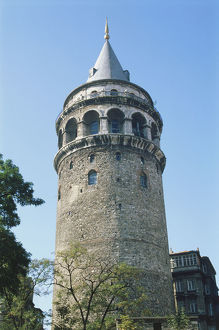 Turkey, Istanbul, detail of the Galata Tower, 62m high round tower topped by a conical
