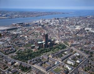 UK, England, Cheshire, Aerial view of Liverpool