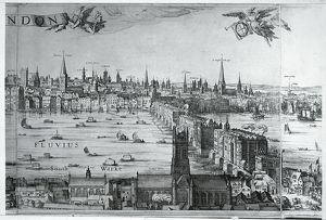UK, England, View of The City of London with London Bridge, by Claes Jansz Visscher