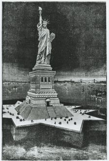 United States of America, New York, Statue of Liberty, engraving, 1886