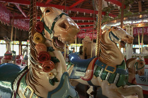 USA, New England, Connecticut, Colourfully painted horse from the carousel, merry-go-round
