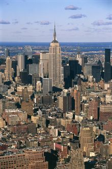 USA, New York, New York City, Aerial view of Manhattan with Empire State Building
