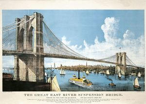 USA, New York, New York City, Brooklyn Bridge, colored lithograph, 1886