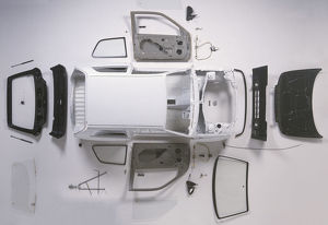 Above view of the bodywork of a small car.