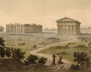 View the Greek temples in Paestum (Italy) from Ancient and Modern Costumes (Il costume
