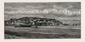 universal images group/universal history archive 19th century engraving/view jaffa jaffa japho joppa southern oldest