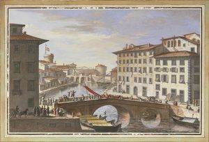 View of Livorno, New Venice district, by Giuseppe Maria Terreni, illustration