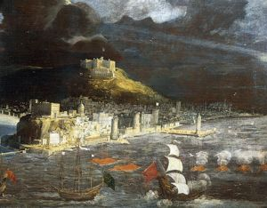 View of Naples from the sea, by Francois Didier Nome' or Didier Barra known as