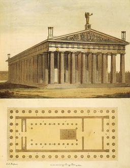View and plan of the Parthenon at Athens from Ancient and Modern Costumes (Il costume