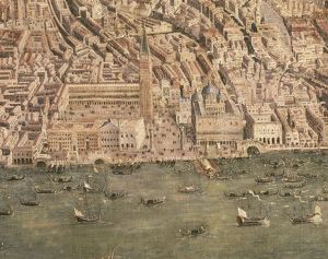 View of Venice from above, Detail: Piazza San Marco and Palazzo Ducale, Painting