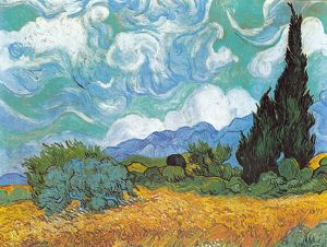 Vincent van Gogh's Wheatfield with Cypresses 1889 A.D.