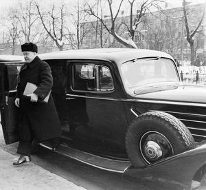 Vyacheslav m, molotov on his way to a meeting of the moscow session of the ministers council, march 14, 1947, the car is an armored american packard.