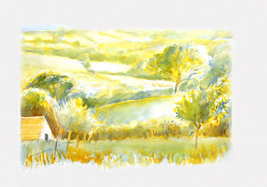 Watercolour painting of farmhouse amid fields and hills