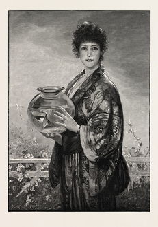 A Woman Holding A Fishbowl Containing Gold Fish