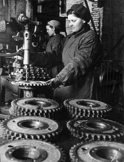 Women workers at the stalingrad tractor works, ussr, 1940s.