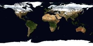 World Flat projection map from composite of satellite images. Credit NASA: Science