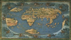 World map on oval projection, by Francesco Rosselli, ink on parchment, created in
