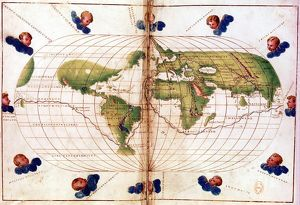 World map of route taken by Ferdinand Magellan (c1480-1521) when he led first