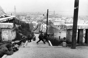 World war 2, 3rd ukrainian front, street fighting in budapest, hungary, january 1945.