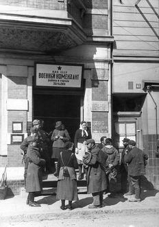 World war 2, at the entrance to the building occupied by the soviet military commandant of thecity