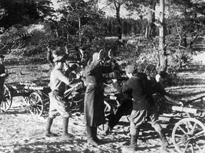 World war 2, russian partisans executing a fascist in the bryansk forest region, 1942.