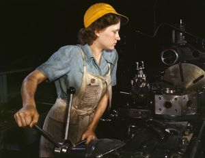 World War II: USA female war worker in the 1940s. During the war women on the home