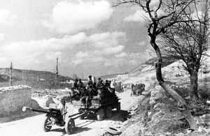 world war ll: crimea (ukraine): red army troops heading in the direction of sevastopol.
