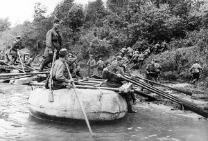 world war ll: sappers crossing a river, july 1942.