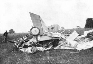 Wreckage of the plane in which the British pilot Flight-Lieutenant Warneford was killed