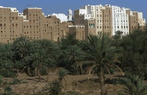 world heritage/building exterior/yemen hadramawt old walled city shibam known