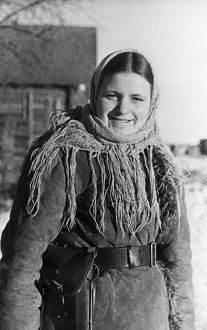 A young byelorussian partisan woman, world war 2, january 1944