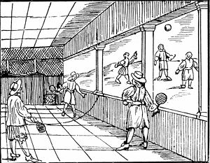 Young men playing a form of tennis. Woodcut from Commenius Orbis sensualis pictura