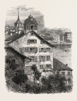 Zwick, from the Lindenhof, Switzerland, 19th century engraving