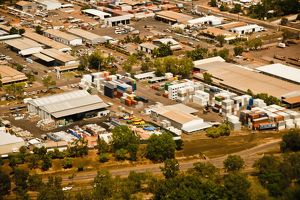 Aerial view of an industrial area