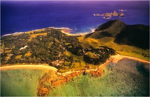 Aerial view of the lagoon on Lord Howe Island