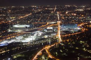 Aerial view of sports venues in Melbourne illuminated at night