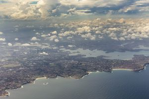 Aerial view, Sydney with the Tasman Sea, Port Jackson, Parramatta River, Sydney, New South Wales
