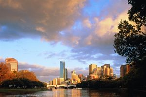 Australia,Melbourne,view down Yarra River to bridge and city beyond