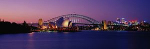 Australia, New South Wales, Sydney harbor, night