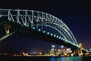 Australia,Sydney,Harbour Bridge with Opera House and city, at night