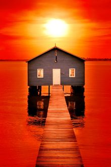 Blood Sunset over Crawley Edge Boat Shed