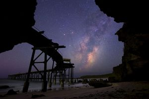catherine hill bay with nights sky and milkyway