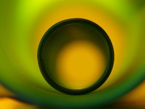Circle of abstract green and yellow