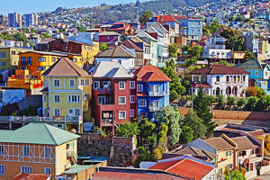 Colourful buildings, Vailparaso, Chile