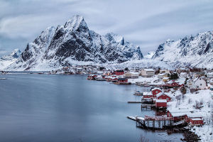 Fjord at City Reine, Lofoten, Norway